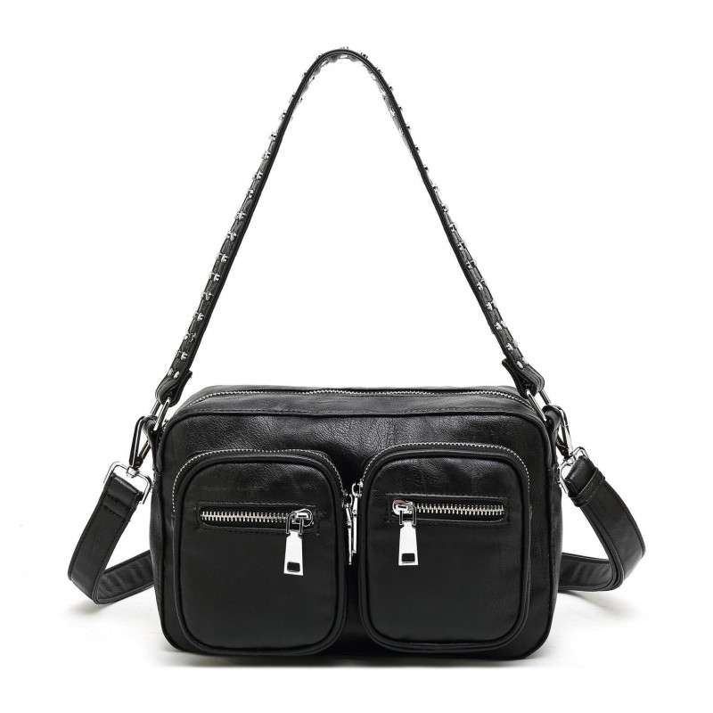 Image of   BLACK leather Look Celia Bag - Crossover BIG fra Noella
