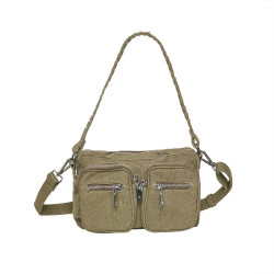Dusty Army Green Canvas Celina Bag - Crossover SMALL fra Noella -
