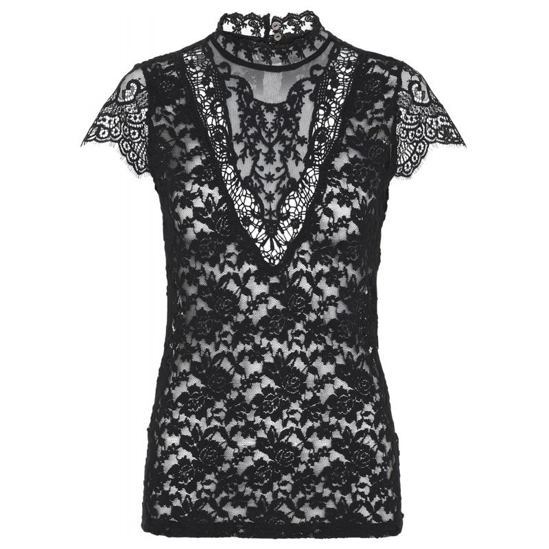 Image of   Black Lace Blouse SS laura fra Continue