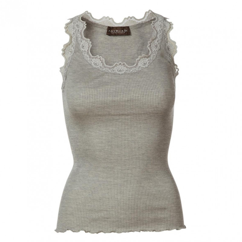 Image of   Light grey melange Silk Top - 5405-008 fra Rosemunde