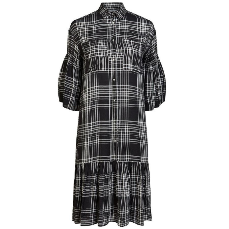 Image of Black BRIGHT WHITE CHECK PCTIFFANY 3/4 MIDI DRESS D2D 17102271 fra Pieces