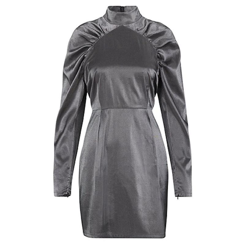Image of   Grey Sliver Lurex Margrett Dress Dress Derulio 45487179 fra mbyM