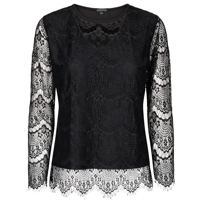 Image of Black ALMA-LS-LACE-BLOUSE - 9534 fra Liberte