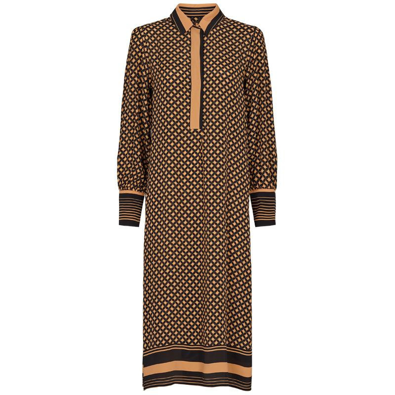 Image of   Black and brown Sirius LS Midi Dress 52959 fra Second Female
