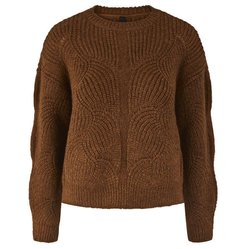 Image of   Bombay Brown YASDALIA LS KNIT PULLOVER AW D2D 26019484 fra YAS