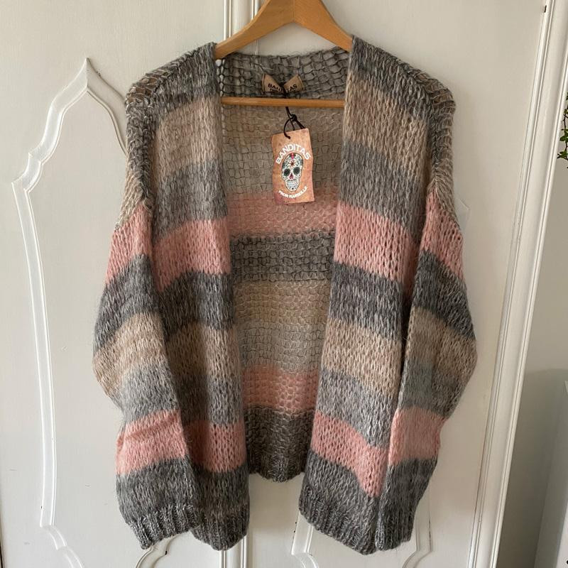 Image of Grey/Rose Amelia-Strik 1635 Cardigan fra Cabana Living (100601-510)