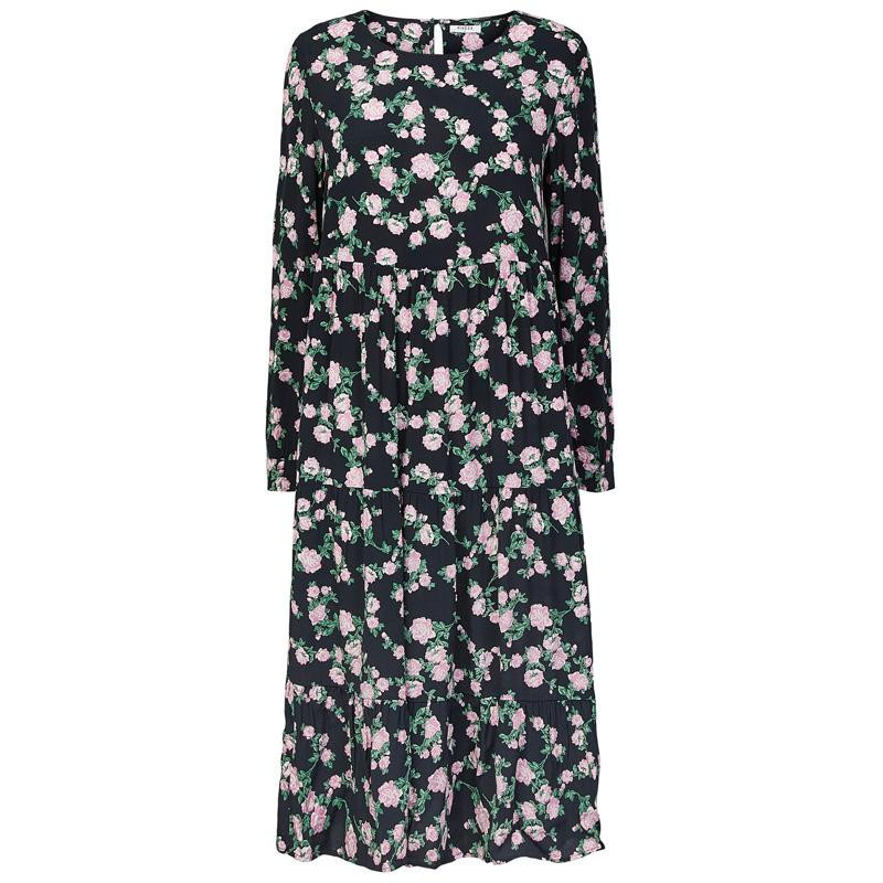 Image of   Black FLOWERS PCMELINDA LS MIDI DRESS 17110416 fra Pieces