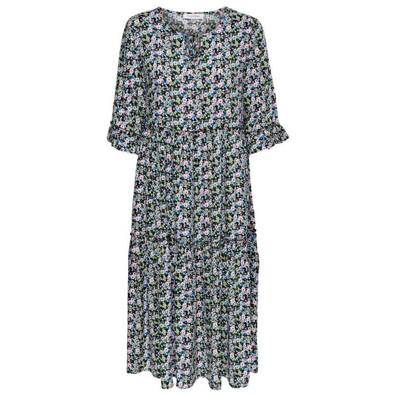 Image of Black ROCKY DITSY ONLRIA 3/4 MIDI DRESS 15206589 fra Only (071301-473)