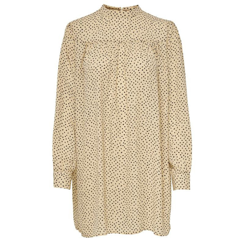 Image of Warm Sand W. BLACK SPOTS ONLAMY L/S DETAIL DRESS WVN PETITE 15215680 fra Only (071401-628)