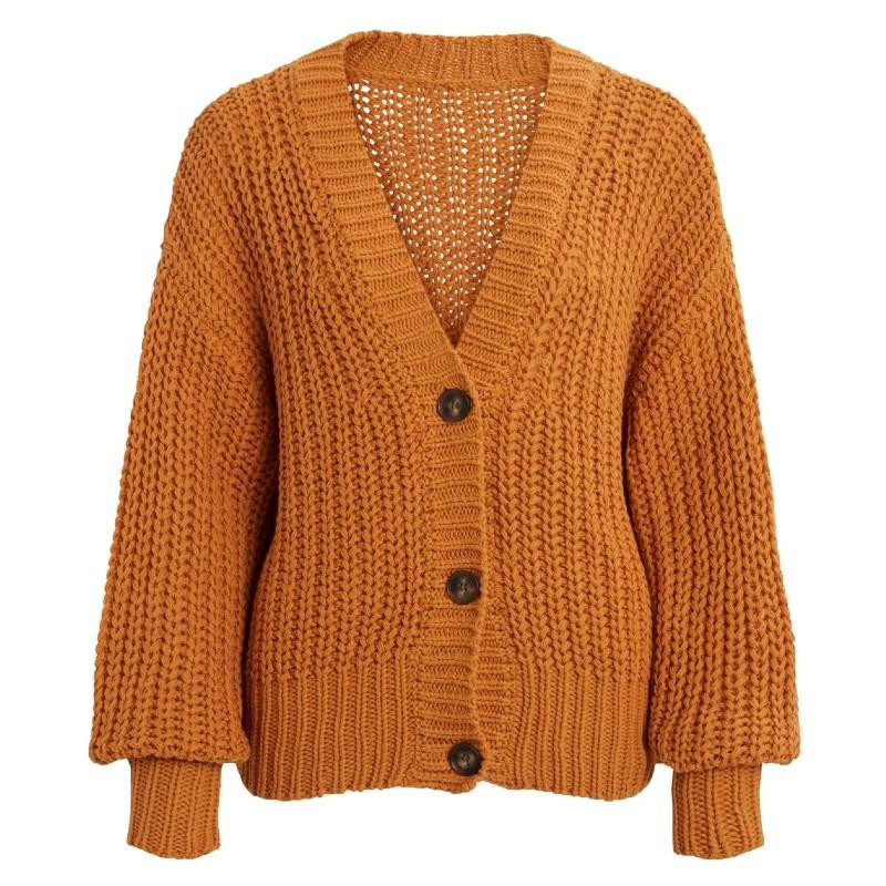 Image of Buckthorn Brown OBJNORAH L/S KNIT CARDIGAN A LMT 1 23033832 fra Object (121401-A16)
