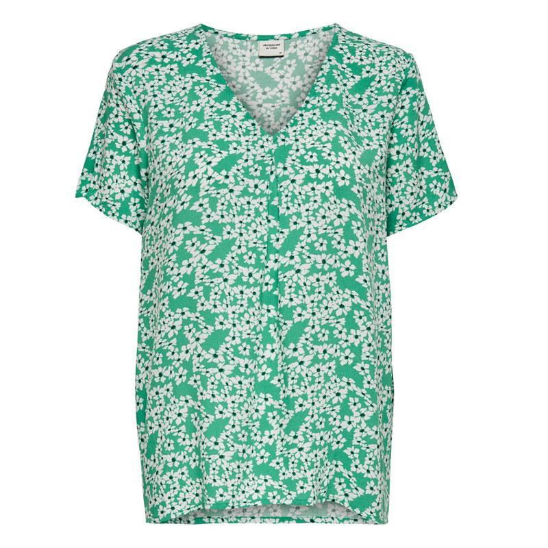 Image of Sea Green CLOUD DANCER SMALL FLOWERS JDYSTARR LIFE S/S V-NECK TOP WVN 15198141 fra JDY (111901-254)