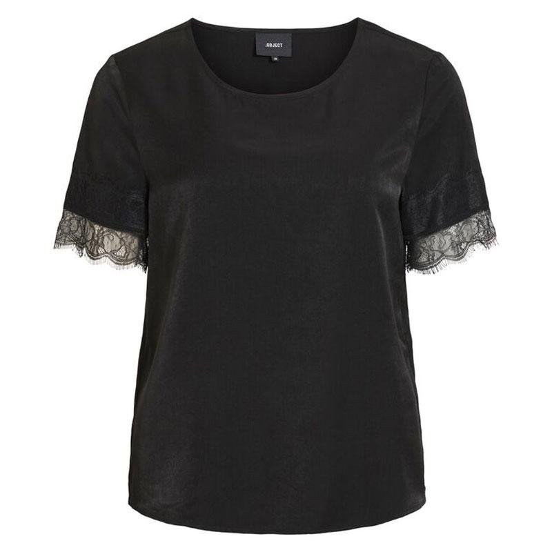 Image of Black OBJEILEEN S/S LACE TOP NOOS 23031000 fra Object (121901-694)