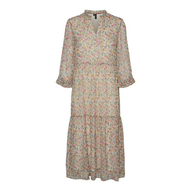 Image of   Birch ROSE VMPRINTY FLOUNCE 3/4 CALF DRESS 10235734 fra Vero Moda