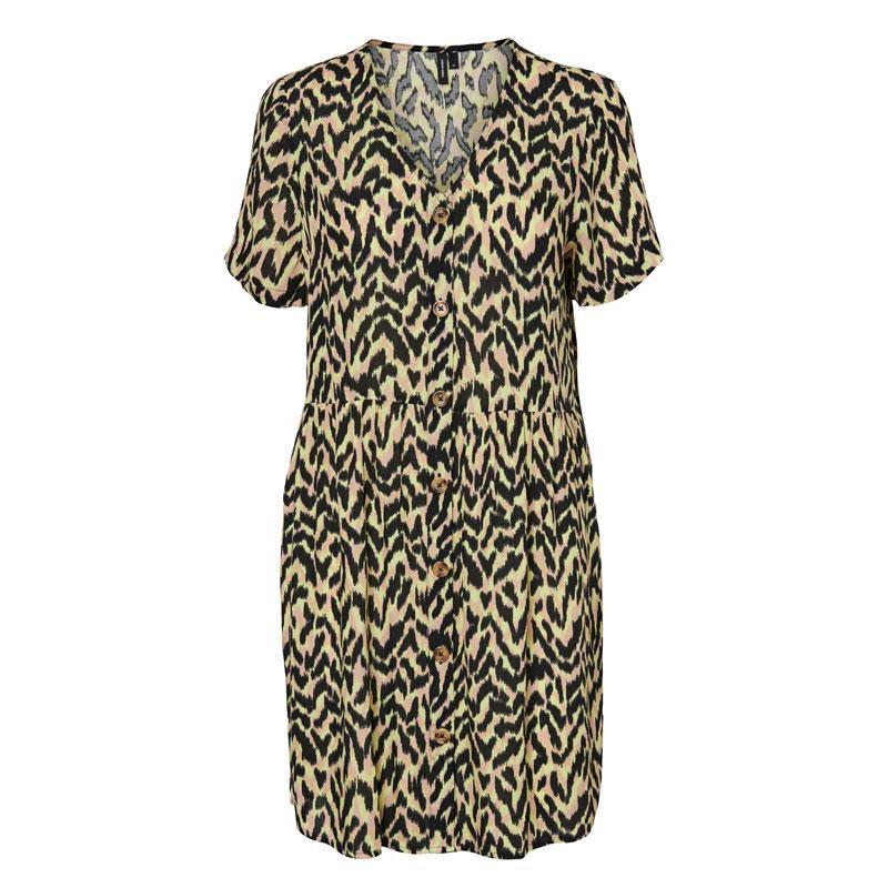Image of Sunny Lime ANNA VMATHEN S/S SHORT V-NECK SHIRT DRESS VIP 10232446 fra Vero Moda (142701-J058)