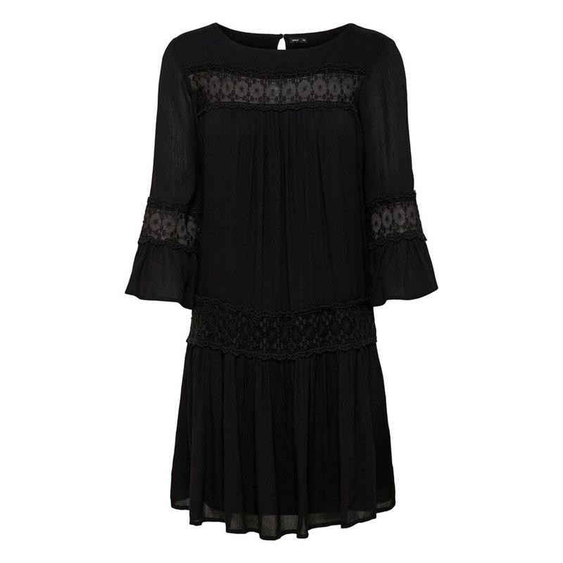 Image of Black ONLTYRA 3/4 FLARE SHORT DRESS WVN NOOS 15142157 fra Only (072901-363)