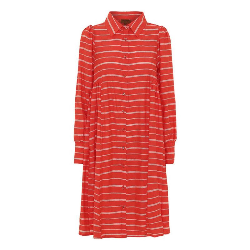 Image of Red Striped Aida Shirt Dress 20300 fra Hunkøn (173001-044)