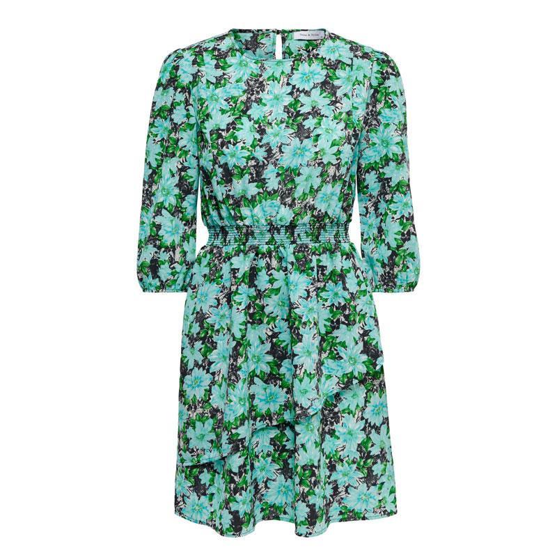 Image of Black BLUE FLOWER ONLJILL 3/4 SHORT DRESS WVN 15212966 fra Only (073001-J046)