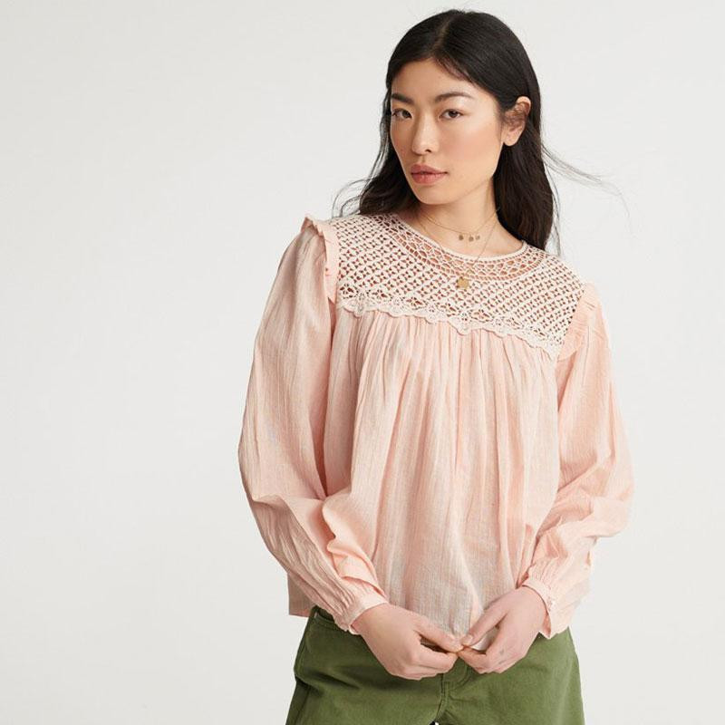 Image of Peach Whip Ellison lace long sleeve top W6010020A fra Superdry (973301-325)