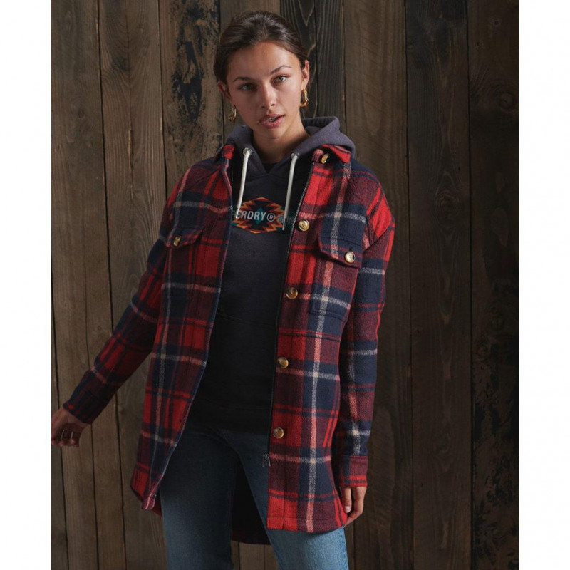 Image of Red Check HERITAGE BRUSHED SHIRT W5010350A fra Superdry (974001-Y040)