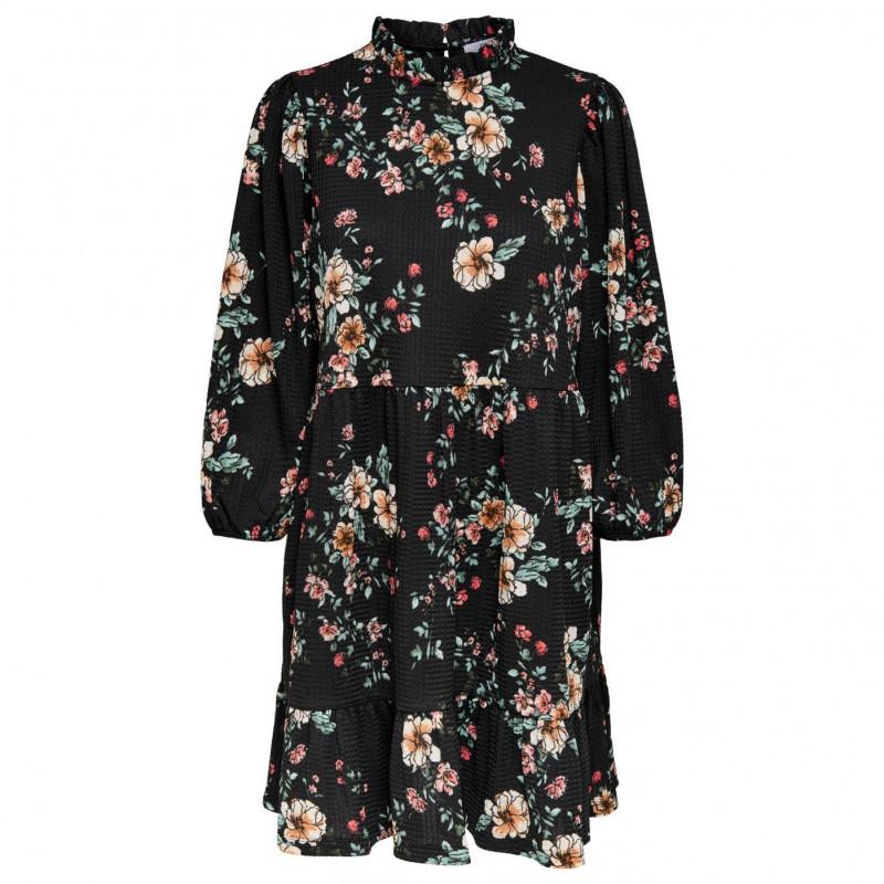 Image of Black FEMME FLOWER ONLZILLE NAYA 3/4 HIGHNECK DRESS 15230351 fra Only (074301- T015)