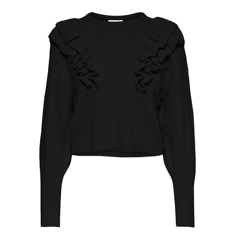 Image of Black ONLCILA FRILL PULLOVER 15216339 fra Only (074901-A016)