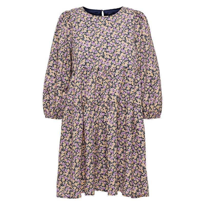 Image of Black FLOWER PRINT ONLAGNES 3/4 SHORT DRESS 15237036 fra Only (070511-A021)