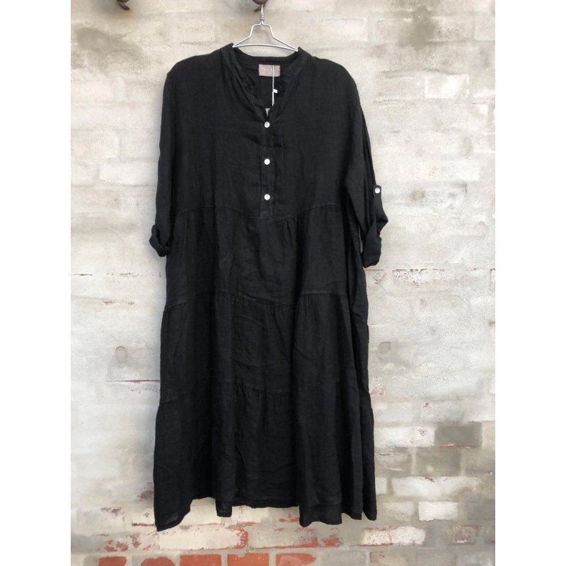 Image of BLACK Lino Dress 9678/10295 fra cabana Living (101311-Z018)