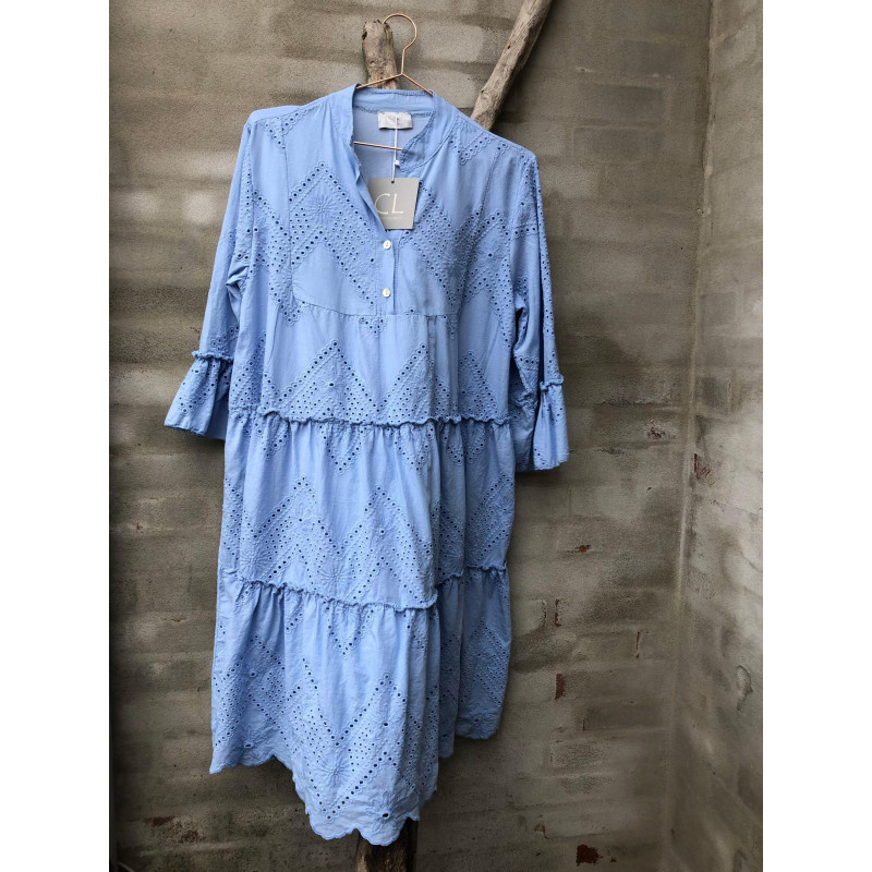Image of Light Blue broidery anglaise Dress 5429 fra cabana Living (101411-077)