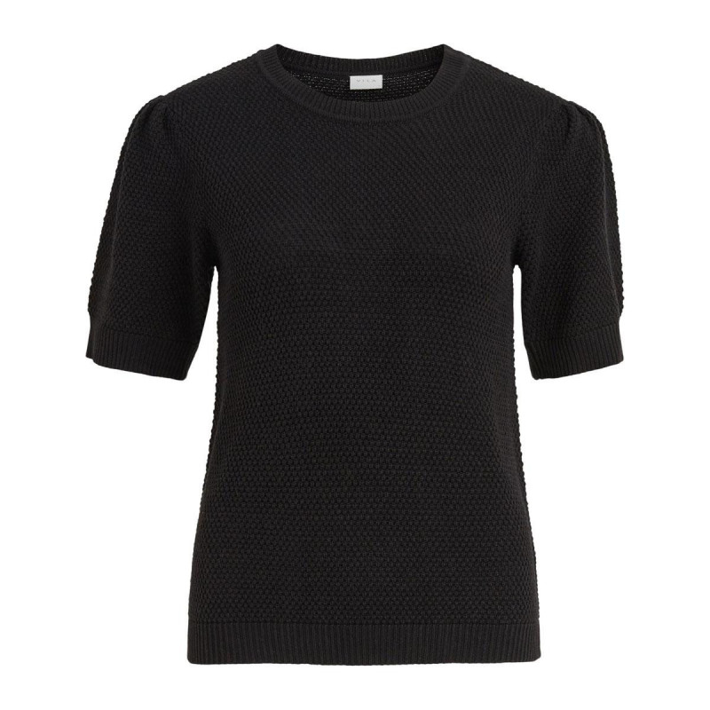 Image of Black VICHASSA PUFF KNIT TOP NOOS fra Vila (191411-S016)