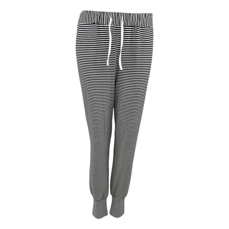 Image of Black POLLY Striped Jersey Pants 40051 fra Black Colour (161511-293)
