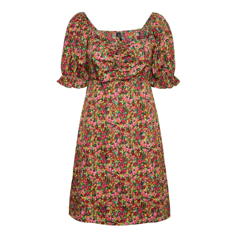 Image of Black GREEN MULTI FLOWER VMHENNA ROUCHING SHORT DRESS 10258064 fra Vero Moda (141911-407)