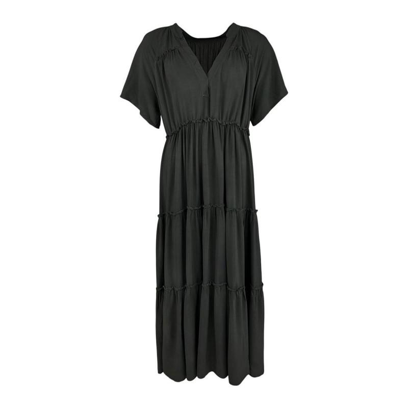 Image of Black ADA maxi boho dress 40075 fra Black Colour (163211-195)