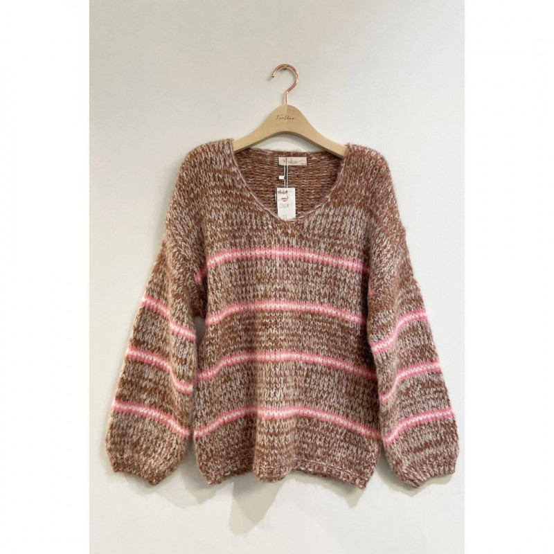 Image of Pink-stribet Mohair Sweater C062 (323611-S032)